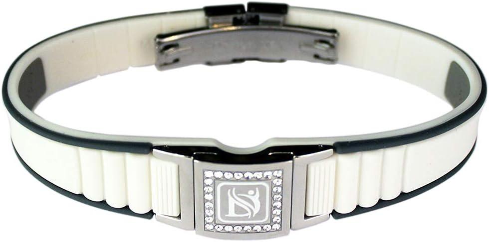 Dr-ion スワロフスキーヘッド陰イオン腕輪 サイズ調節可能/ホワイト&グレー