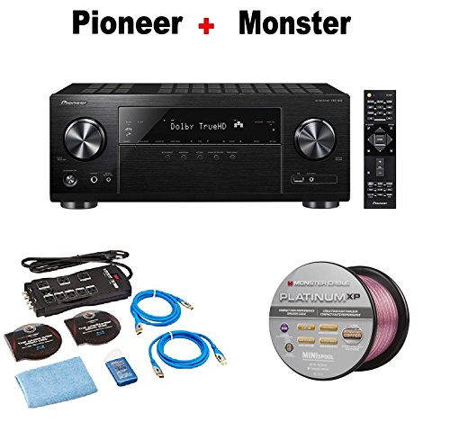 PIONEER VSX832 5.1-Channel 4K Ultra HD, Network AV Home Theater Receiver - Black + Monster Home Theater Accessory Bundle + Monster - Platinum XP 50' Compact Speaker Cable Bundle by Pioneer
