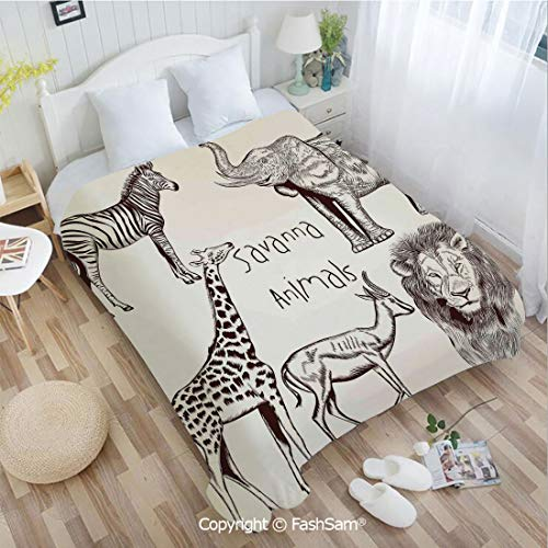 PUTIEN Flannel Fleece Blanket with 3D Collection of Tropic African Asian Wild Savannah Animals Lion Giraffe Graphic Lightweight for Adults(39Wx49L)