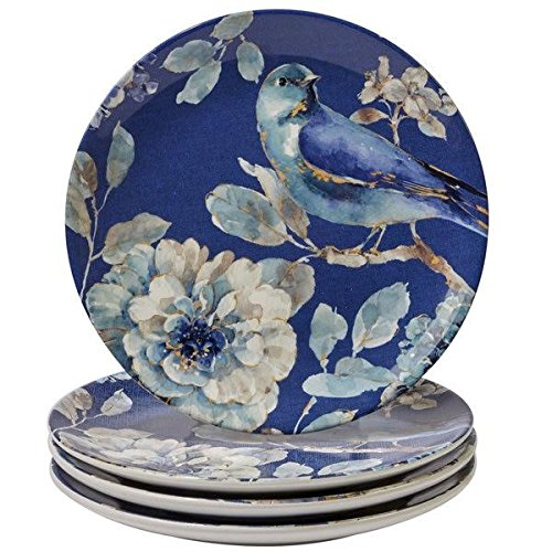 ''Set of 4'' Certified International Indigold Bird Dessert Plate 9'' by Certified International