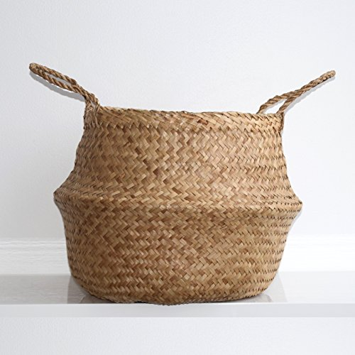 DUFMOD Small Natural Woven Seagrass Tote Belly Basket for Storage, Laundry, Picnic, Plant Pot Cover, and Beach Bag (Zigzag Chevron Natural Seagrass, Small) (Grass Small)