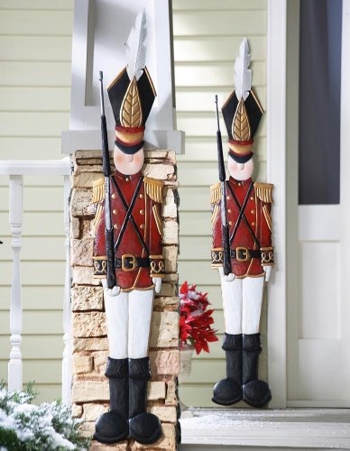 KNLSTORE Set of 2 Christmas Holiday Metal Toy Soldiers Nutcracker Outdoor Mounted Wall Hanging (Christmas Toy Soldier)