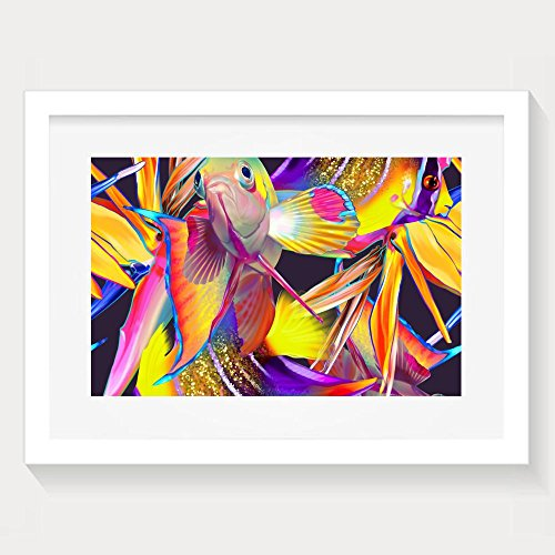 ZhiqianDF New Style Seamless Tropical Pattern With Fish And Strelitzia Abstract Exotic Texture Summer Ornament Framed Wall Art Prints - New York Eyeglasses Stores