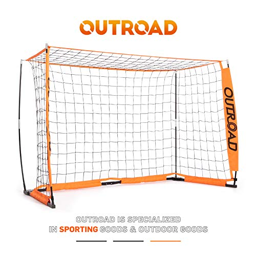 Outroad Portable 6x4 Soccer Goal for Backyard, Practice Small Soccer Net for Kids/Youth, Metal Bownet Post for Soccer w/Carry Bag,(Orange)