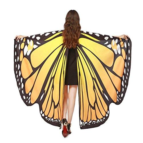 Han Shi Butterfly Shawl, Fashion Women Print Pashmina Scarves Nymph Pixie Poncho Costume (L, Orange)