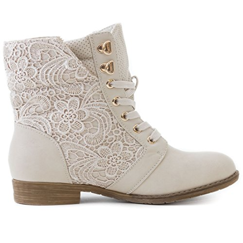 Damen Worker Boots Schnür Stiefel Stiefeletten in Lederoptik warm gefüttert Beige