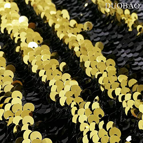 DUOBAO Sequin Backdrop Curtains 2 Panels 4FTx8FT Reversible Sequin Curtains Black to Gold Mermaid Sequin Curtain for Wedding Backdrop Party Photography Background by DUOBAO (Image #4)