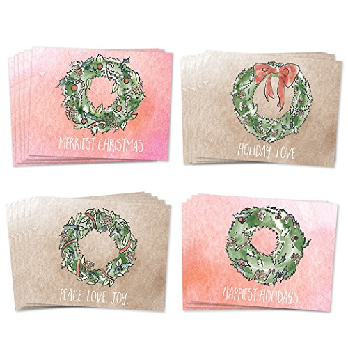 24 Holiday Greeting Cards 4 Assorted Evergreen & Holly Wreath Designs, Notecards with Envelopes Included, 24 Pack Premium Assorted Mixed & Boxed Christmas Season's Greetings, Great Value by Digibuddha