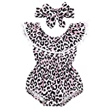 NUWFOR Infant Baby Girls Leopard Ruffles Tassel Romper Swimwear Swimsuit Bikini Set (Pink,12-18 Months)