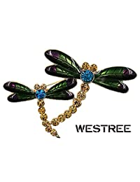Westree Golden Tone Light Brown Rhinestones Dark Green Two Dragonfly Brooch Pin