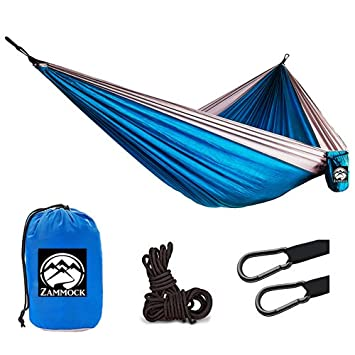 XL Double Camping Hammock with Steel Carabiners Portable Two Person Outdoor Backpacking Hammocks for Hiking, Travel, Beach Ultra Lightweight Parachute Nylon