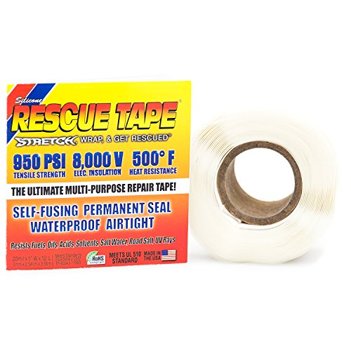 Rescue Tape Self-fusing Silicone Tape (Clamshell White, 1-Inch by 12-Feet) Pvc Leak Repair