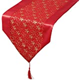 CHRISTMAS Table Runner - Sparkly GOLD CHRISTMAS STARS on RED Voile - 137cm x 35cm by The Christmas Workshop