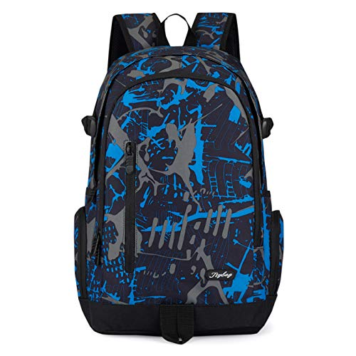 School Backpack, Ricky-H Lifestyle Travel Bag for Men & Women, Lightweight College Back Pack with Laptop Compartment-Graffiti Blue (Style 2) -