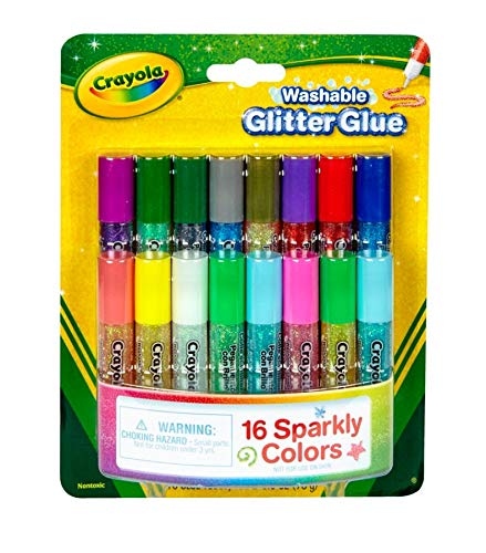 Washable Glitter Glue Pens (Crayola; Mini Washable Glitter Glue; Art Tools; 16 ct.; 16 Sparkly Colors; Great for Arts and Crafts)