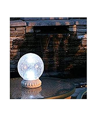 """Garden Gazing Ball Crackled Glass 8"""" with Tabletop Base, Solar-Powered Includes Dual Mode Option and Automatic Illumination, Ideal for Outdoor Decor"""