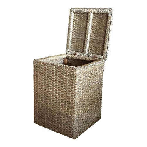 Wholestory Collective Handwoven Large Wicker Banana Leaf Floor Basket with Lid and Storage Hamper