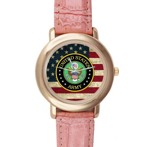 Gifts for girls or ladies United States Army on American Flag Pink Leather Alloy High-grade Watch