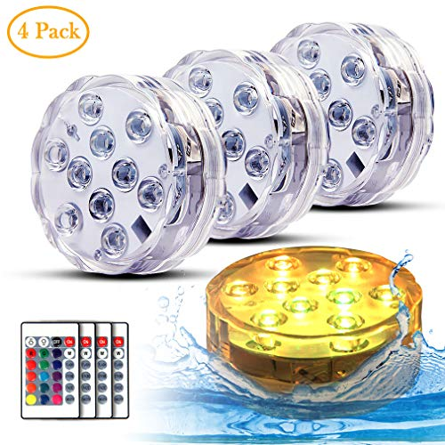 (Swimming Pool Lights Submersible LED Lights Underwter Pond Light Remote Control Battery Operated for Fish Tank,Aquarium,Tub,Fountain,Waterfall,Vase Base Best Party Supplies Events Décor(4 Pack))