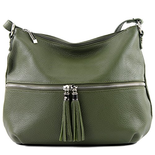 Olivgr de ital Damentasche Schultertasche Leder modamoda Ledertasche Umh ngetasche T159 Tasche FqCZ7wZv