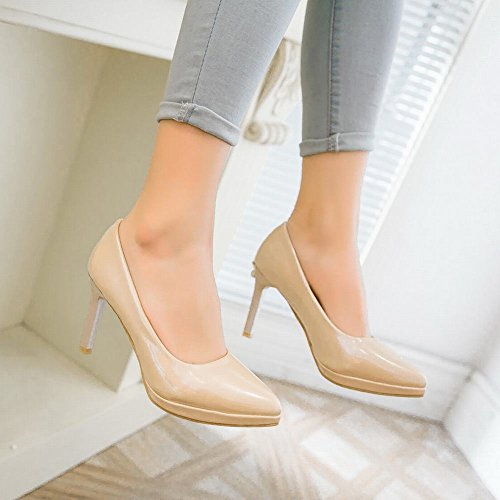 Charm Foot Womens Sipmle Style Solid Pointed Toe High Heel Pump Shoes Apricot vKUWplKVi
