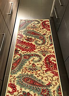 Custom Size Beige Multicolor Paisley Rubber Backed Non-Slip Hallway Stair Runner Rug Carpet 22 or 31 Inch Wide Choose Your Length
