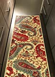 Custom Size Beige Multicolor Paisley Rubber Backed Non-Slip Hallway Stair Runner Rug Carpet 22 inch Wide Choose Your Length 22in X 3ft