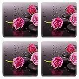 MSD Square Coasters Non-Slip Natural Rubber Desk Coasters design 24288592 Spa stone and rose flowers still life Healthcare concept
