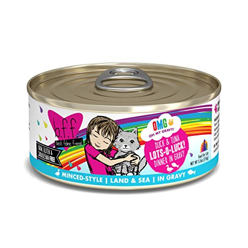B.F.Omg - Best Feline Friend Oh My Gravy!, Lots-O-Luck! with Duck & Tuna In Gravy Cat Food by Weruva, 5.5oz Can (Pack of 8)