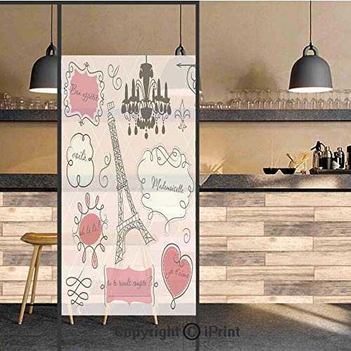 3D Decorative Privacy Window Films,Doodle Frames French Style Rococo Baroque Lantern Mademoiselle Print Decorative,No-Glue Self Static Cling Glass film for Home Bedroom Bathroom Kitchen Office 24x71 I (Wall Light Mademoiselle One)