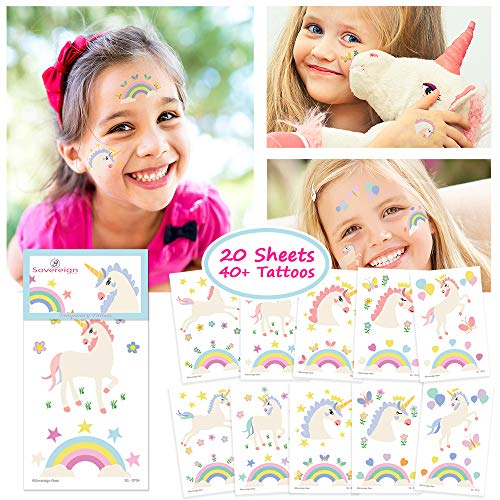 Unicorn Temporary Tattoos for Kids Unicorn Party Favors, Rainbow Unicorn Sticker Birthday Decorations and Supplies - Non-toxic Waterproof Pack of 20 Sheets - 40+ Fake -