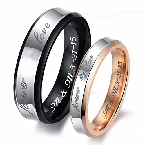 Personalized Couples Forever Love Gold & Black Stainless ...