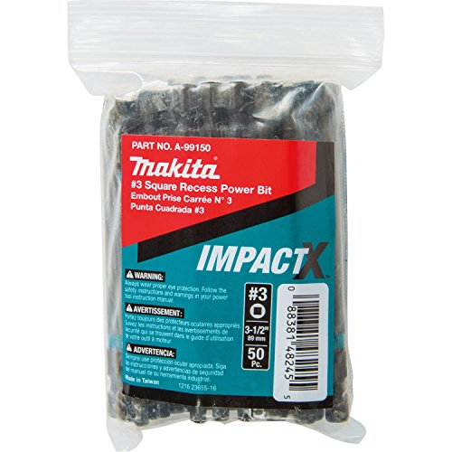 Makita A-99150 Impactx #3 Square Recess 3-1/2″ Power Bit, 50 Pack, (3 Square Recess Power Bits)