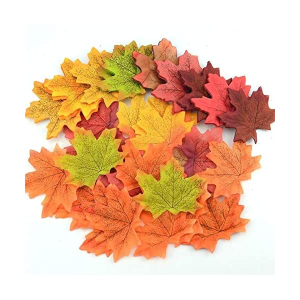 Real-Looking Artificial Maple Leaf Decorations – Pack of 500 | 10 Color Style | Simulation Faux Silk Leaf for Thanksgiving, Weddings, Events and DIY | Autumn Fall Birthday Party, Home Office Décor