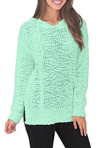 - Asvivid Womens Comfy Knit Sweater Hoodies Loose Popcorn Fluffy Pullover Jumper Hooded Sweatshirt Tops L Green