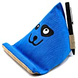 Natural Series - Extra-Stable Embroidered Tablet Pillow Stand with Thick Canvas Fabric Outer and Heavy Bean Filling (Sapphire Blue)