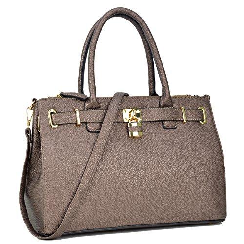 Shoulder Handbags Bronze Purse Bag Designer Tote Fn0326 Dasein Top Handle Satchel Womens Padlock wIISqFz