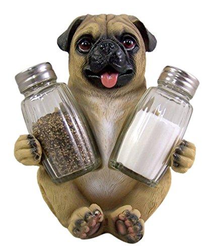 Peppery Pug Salt and Pepper Shaker Holder (Shakers Included)]()