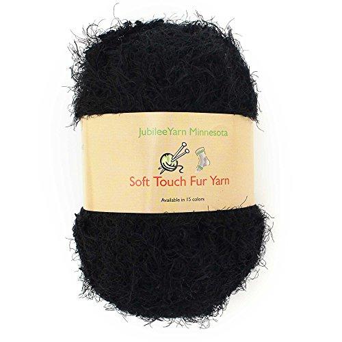 JubileeYarn 100g Soft Touch Fuzzy Fur Yarn, Pitch Black 2 Skeins - Eyelash Yarn Patterns