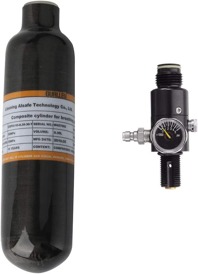 IORMAN 0.35L 4500psi Carbon Fiber Air Tank & Fill Station with Regulator for PCP Paintball(Empty Bottle)