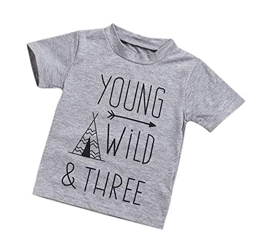 YOUNGER STAR 1PC Children Baby Boy Gray Letter Print Short Sleeve T-Shirt Clothes Outfit (Gray, 5 T)