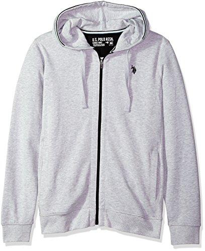U.S. Polo Assn. Men's Zip up Hoodie, Light Heather Gray Kjbd, - Iconic Gray Hoodie