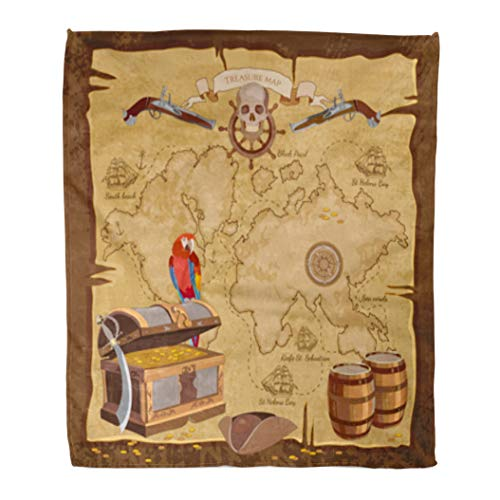 - Golee Throw Blanket Old Pirate Treasure Map Chest Parrot Skull Rum Saber Hat 50x60 Inches Warm Fuzzy Soft Blanket for Bed Sofa