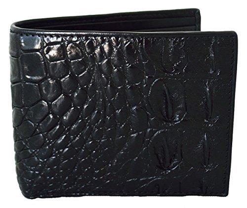 (Authentic M Crocodile Skin Men's Bifold Backbone Leather Black Wallet)