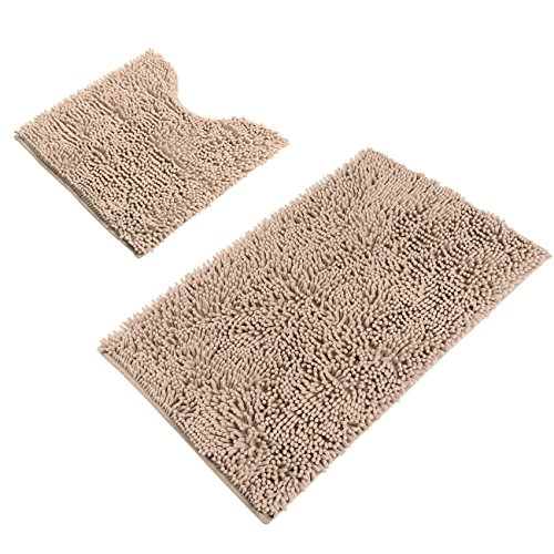 Sunnyglade Bathroom Contour Rugs Combo, Set of 2 Chenille Fabric Microfiber Soft Shaggy Non Slip 21