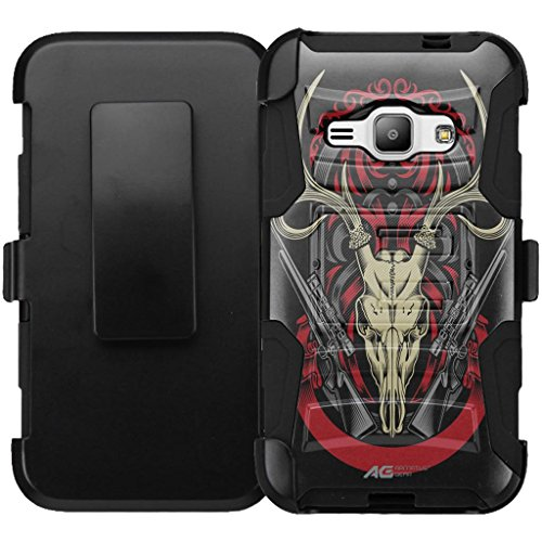 Galaxy J3 Case Holster Combo - Armatus Gear (TM) Tactical Hybrid Armor Case Holster Clip for Samsung Galaxy Express Prime, Amp Prime, Galaxy Sol, Galaxy Sky - Deer Skull with Rifle