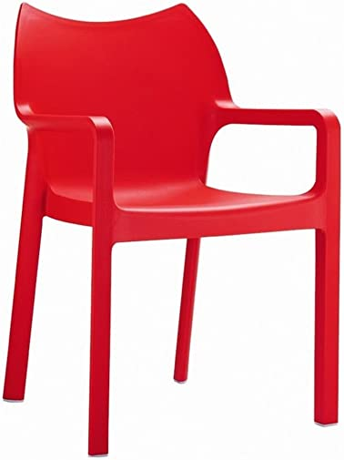 Compamia Diva Resin Outdoor Patio Dining Arm Chair in Red, Commercial Grade