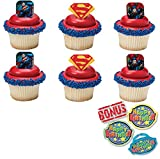 Superman Shield Cupcake Toppers and Bonus Birthday Ring - 25 piece