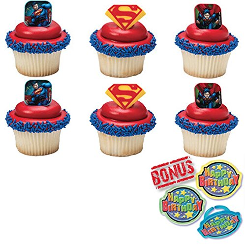 Superman Shield Cupcake Toppers and Bonus Birthday Ring - 25 (Superman Cupcake Toppers)