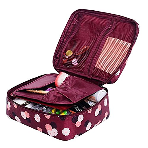 Ac.y.c Printed Multifunction Portable Travel Makeup Cosmetic Bags Organizer for Women Girl Travel (Wine Red Daisy)